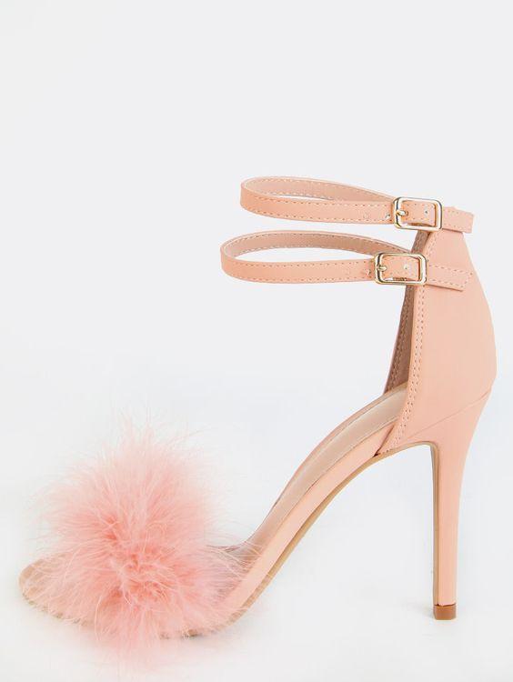 sandali sposa rosa con piume