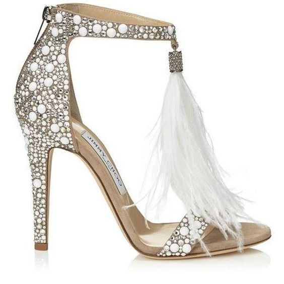sandalo glitter sposa con piume jimmy choo