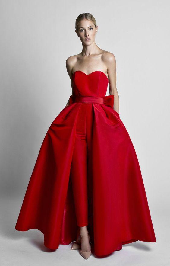 abito da sposa pantalone rosso