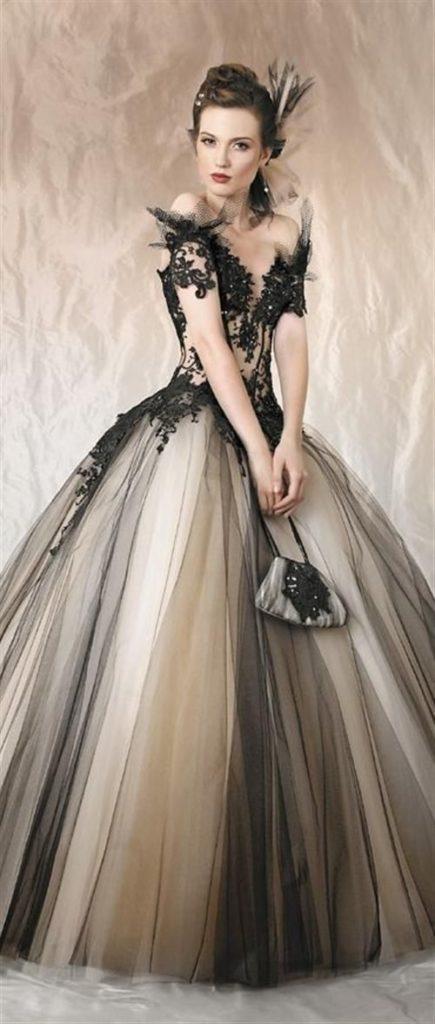 abito da sposa avorio e nero