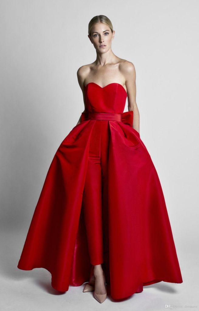abito da sposa pantalone rosso  kRIKOR jABOTIAN