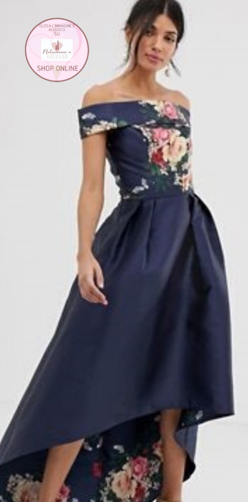 abito da cerimonia lungo dietro e corto davanti in tessuto stampa floreale