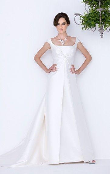 abito da sposa ad A tessuto lucido opaco