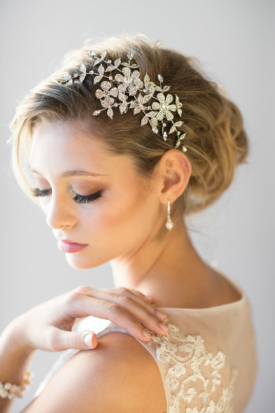 coroncina da sposa con cristalli