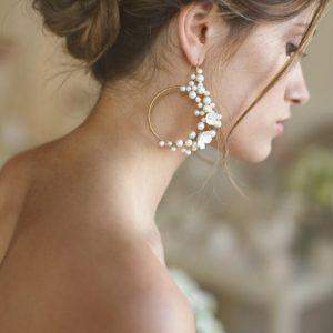 orecchini sposa ad anella con perle