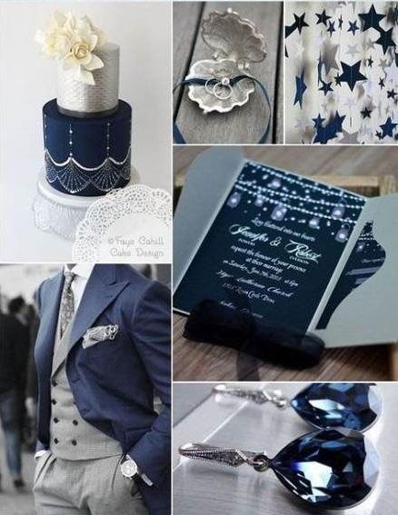 palette colori nozze blu oro argento