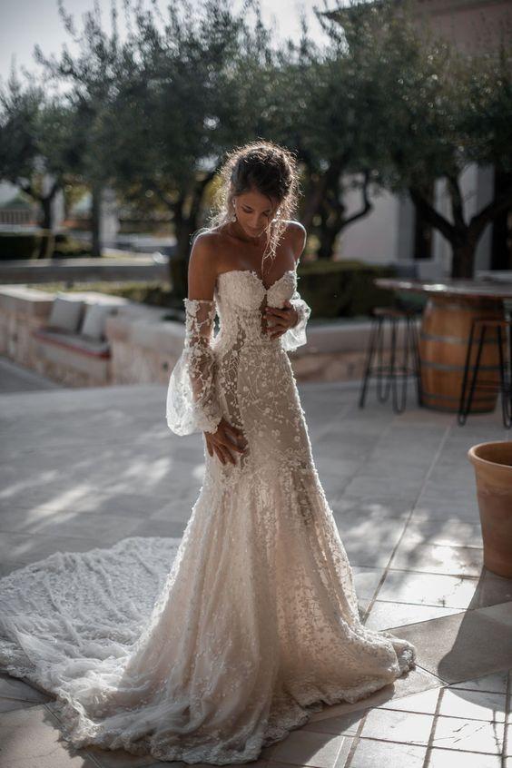 abito da sposa sexy  decolletè a sirena