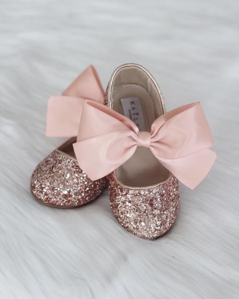 ballerine rosa glitter bimba damigella di nozze