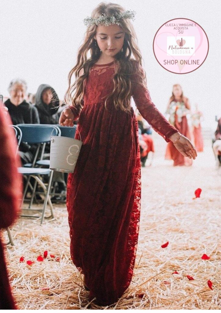 abitino damigella di nozze in rosso