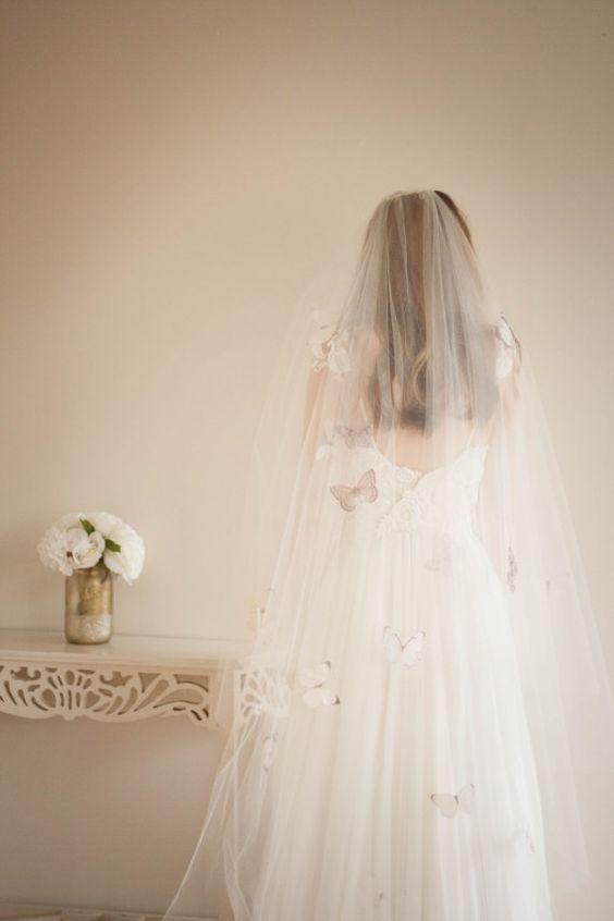 velo sposa con farfalle