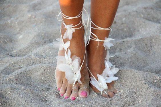 sandalo piede nudo sposa con farfalle in organza