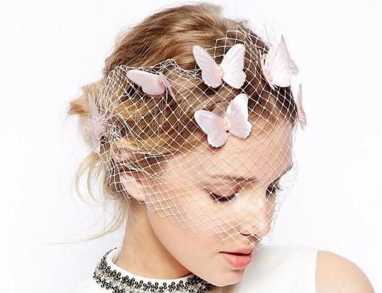 veletta da sposa con farfalle