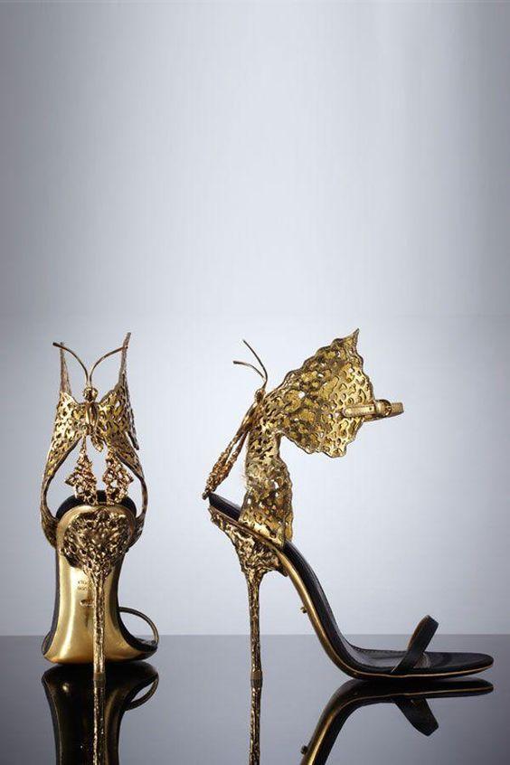 sandali da sposa oro  con farfalle Sergio Rossi