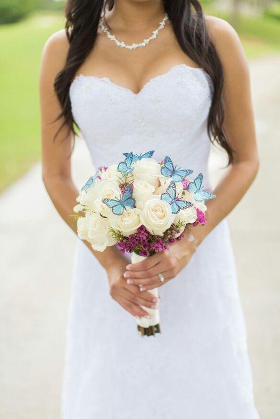 bouquet da sposa con farfalle