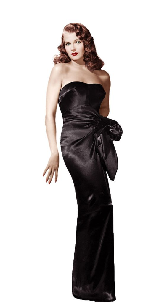 Rita Hayworth ed il suo famoso abito nero decolletè in raso douchesse
