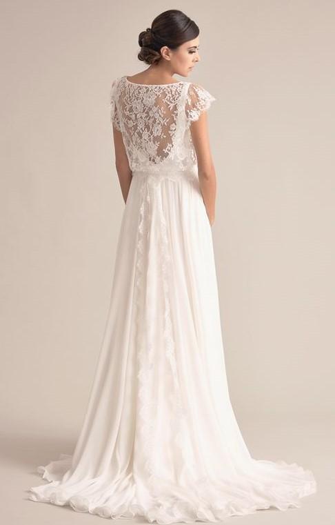 abito da sposa scivolato classico con schiena in pizzo
