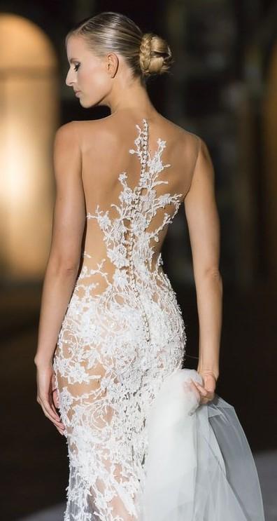 abito da sposa con schiena efetto tattoo Rosa   Clarà