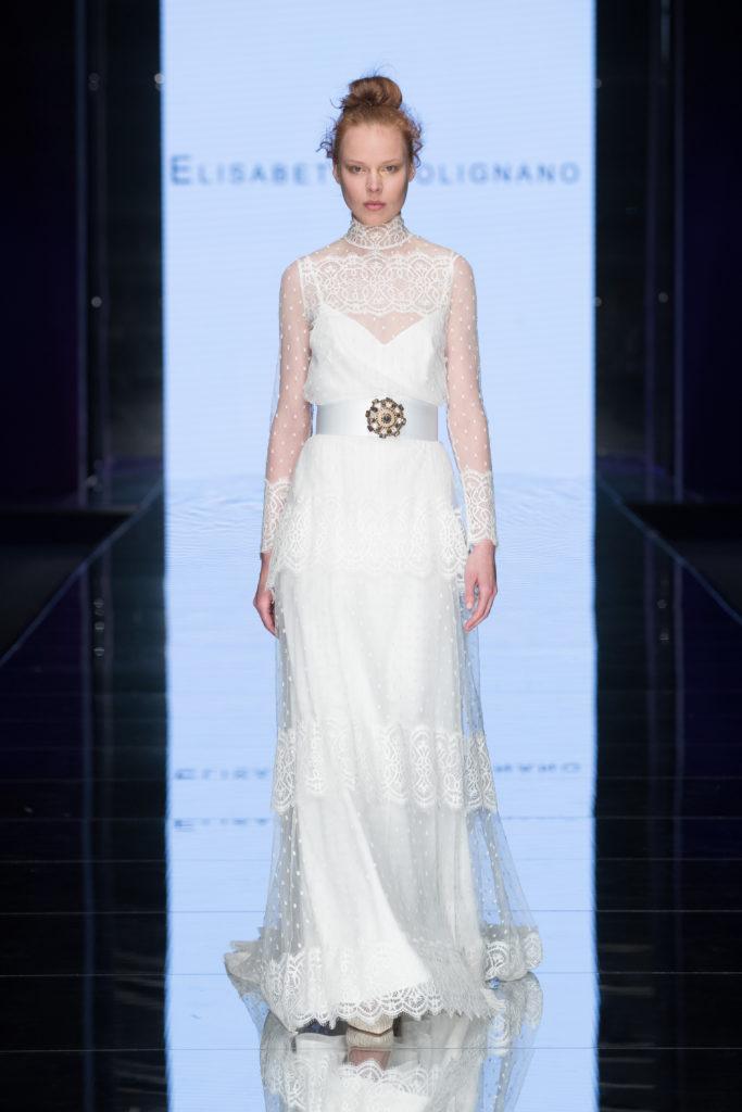 abito da sposa Elisabetta Polignano in plumetis  stile vintage primi 900