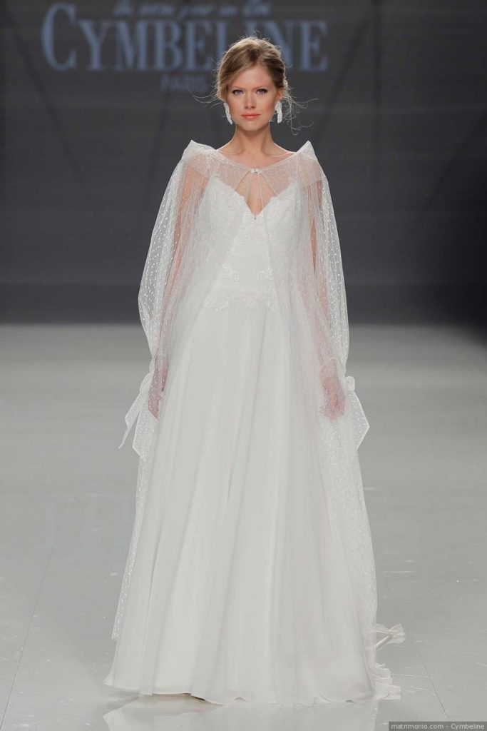 soprabito da sposa in tulle point d'esprit