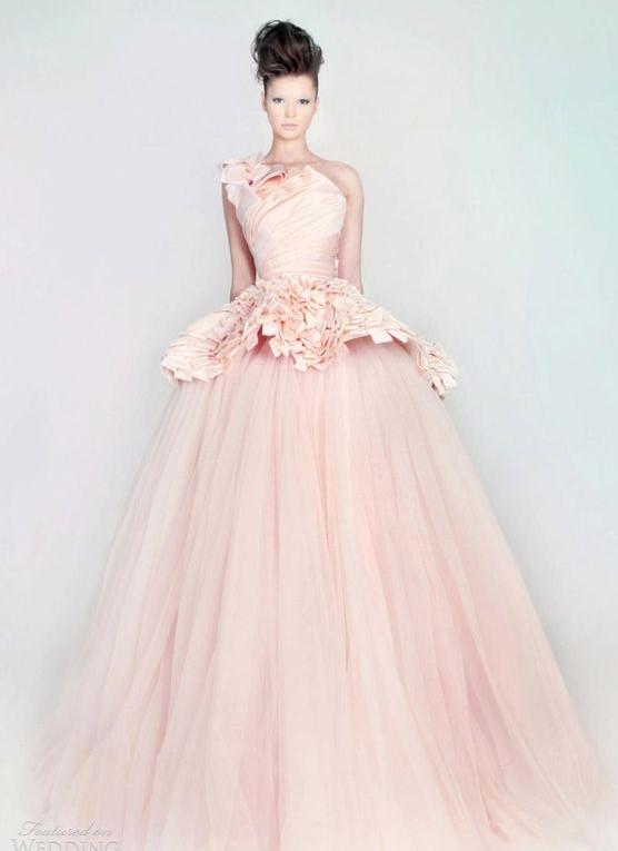 vestito da sposa rosa haute couture
