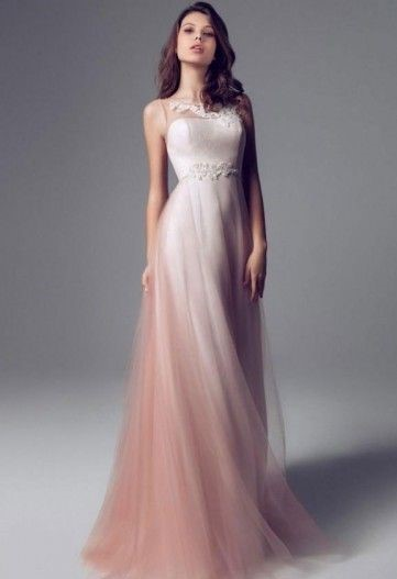 vestito da sposa rosa scivolato in tulle degradèe Blumarine
