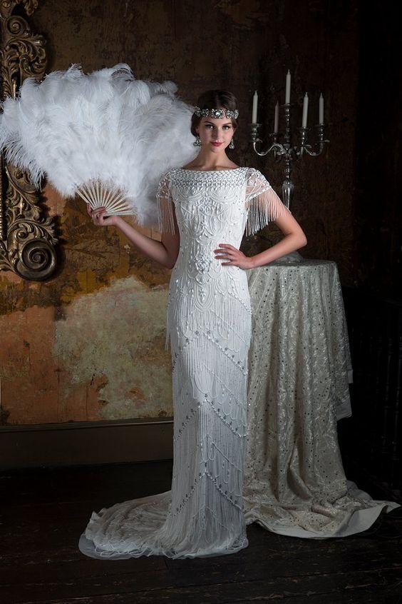 vestito da sposa lungo stile charleston