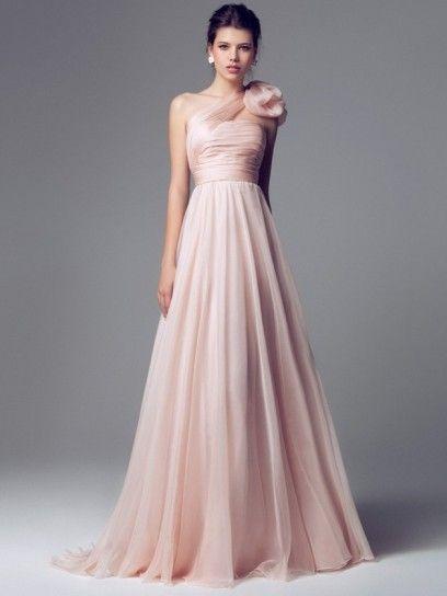 abito da sposa svasato in chiffon rosa monospalla
