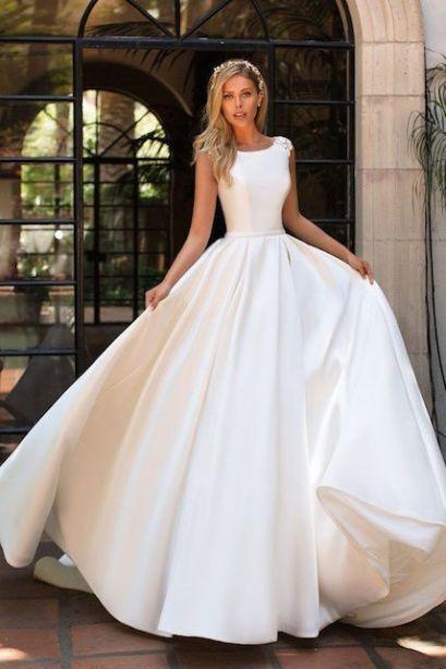 abito da sposa liscio   ampio in mikado