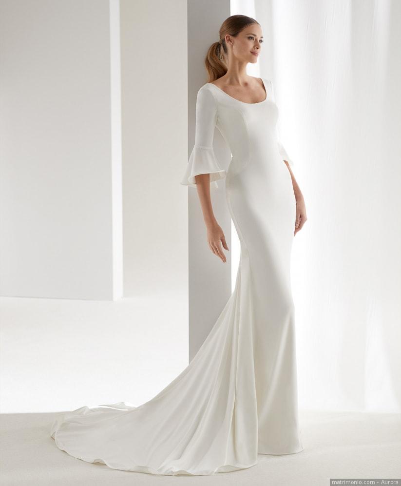 abito da sposa minimal in cady con manica a trequarti e scollo tondo