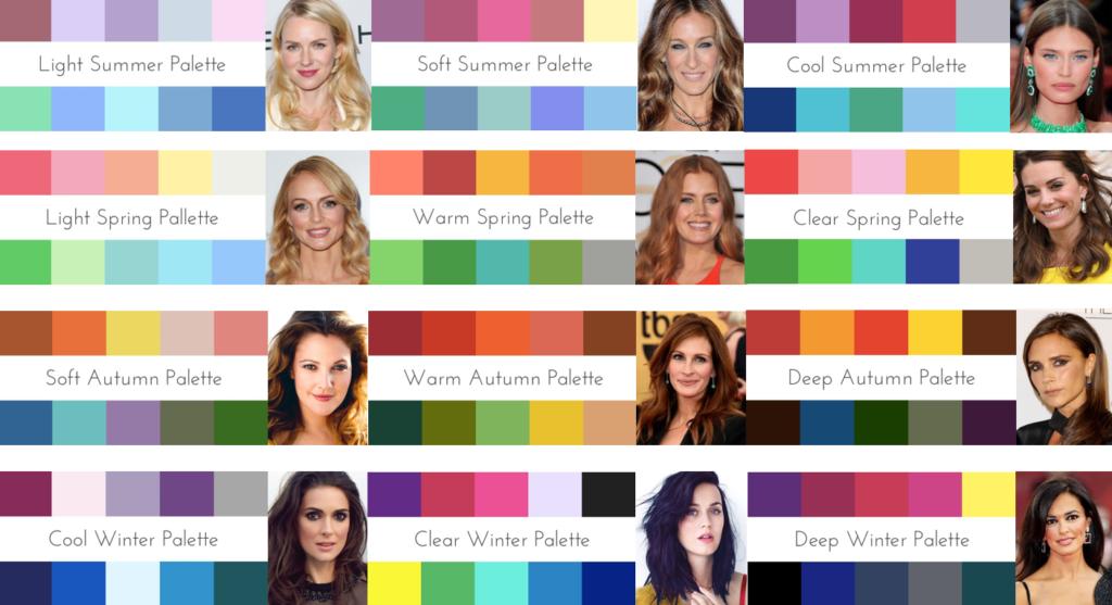 palette colori abbinata a incarnato e colore dei capelli
