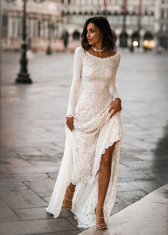 abito da sposa stile minimal scollatura a barca