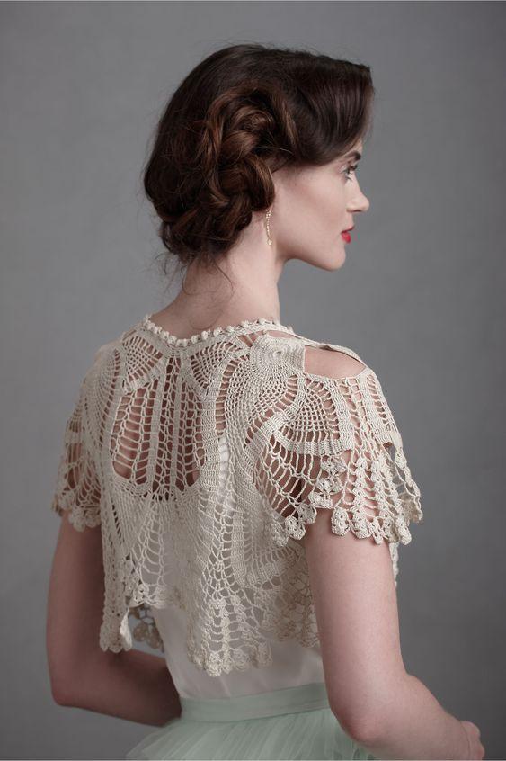 accessori sposa fai da te  coprispalle sposa in cotone realizzato ad uncinetto