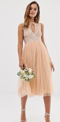abito lungo rosa damigella di nozze