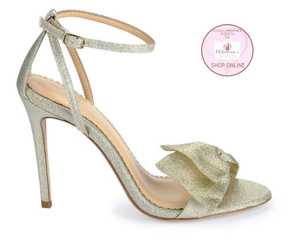 sandali sposa con fiocco glitter platino