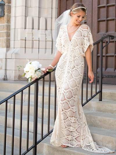 abito da sposa all'uncinetto