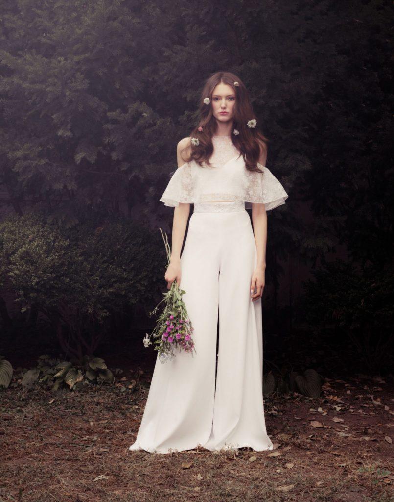 abito da sposa boho chic  sttile vintage anni 70  con pantaloni  Honor
