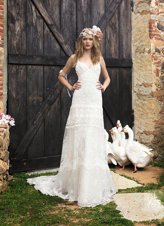 abito da sposa boho chic sttile vintage anni 70 Yola Cris