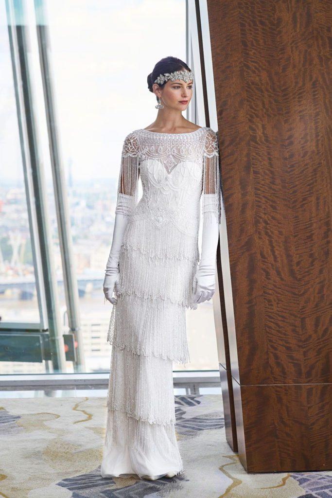 abito da sposa stile vintage  anni trenta con frange