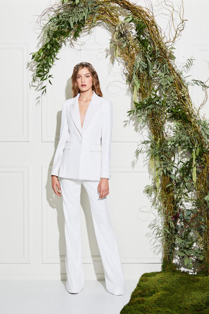 tailleur  da sposa bianco con pantaloni Rachel Zoe