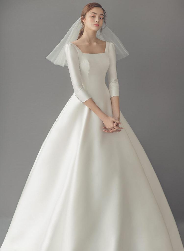 abito da sposa ampio in mikado