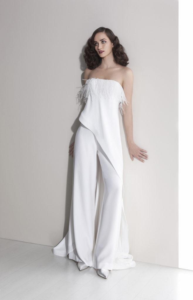 abito da sposa pantalone tessuto cady